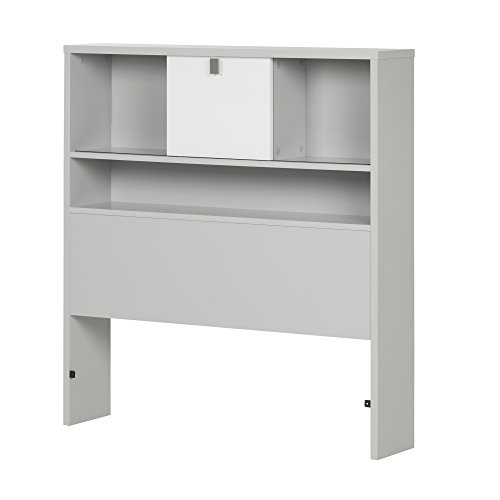 "South Shore 10512 39"" Cookie Bookcase Headboard, Twin, Soft Gray & Pure White"