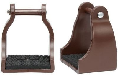 Tough-1 Polymer Cushioned Trail Stirrups 3In Brown