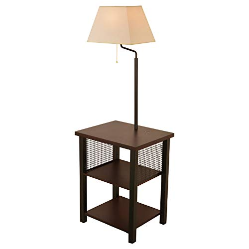 WAYKING Floor Lamp with Two-Tier End Table, Standing Lamp with Three USB Charging Ports Combination, Brown Tray Floor Lamp, Beige Fabric Shade (Lamp 2 Tier)