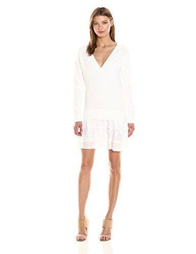 French Connection Women's Eliza Jersey Sweatshirt Dress, Summer White, 2 by French Connection