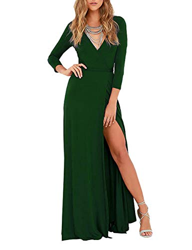 - DLDY Womens 3/4 Sleeve V-Neck Split Solid Faux Wrap Long Maxi Dress with Belt (Large, Green)
