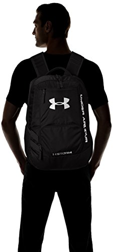 "Under Armour Unisex Team Hustle backpack 4 UA Storm technology delivers an element-battling, highly water-resistant finish Tough, abrasion-resistant bottom panel Soft lined laptop sleeve-holds up to 15"" laptop"