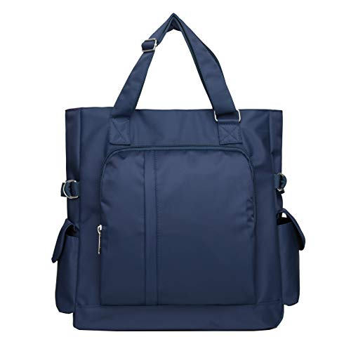 Waterproof Nylon Oxford Multi-pocket Tote Shoulder Bags Travel Laptop Briefcase Work Purse and Handbags for Women & Men (086-Blue)