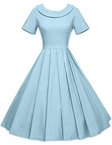 GownTown Women Vintage 1950s Retro Rockabilly Prom Dresses Cap-Sleeve