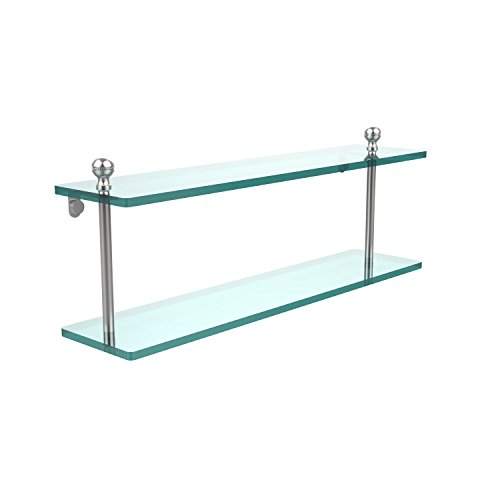 Allied Brass MA-2/22-SCH Mambo Collection 22 Inch Two Tiered Glass Shelf, Satin Chrome