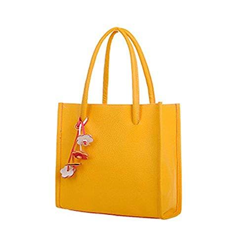 Han Shi Fashion Handbags, Women Girls PU Leather Flowers Candy Color Totes Shoulder Bag (Yellow, M)