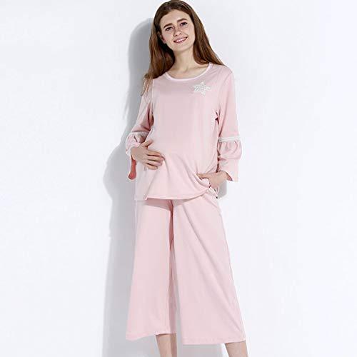 Invierno Una Dormir Regalo Pieza Camisones Rosa De Suelta Materna Oscuro Mujeres Homedressing Ropa Embarazadas Lactancia Pink Embarazo Algodón Pijamas ZH0awq7Z