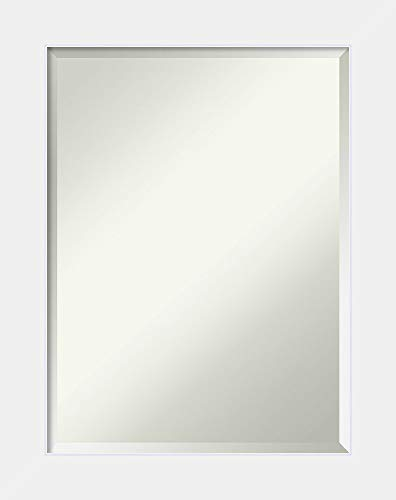 Amanti Art Framed Corvino White Solid Wood Wall Mirrors, Glass Size: 24 x 18,