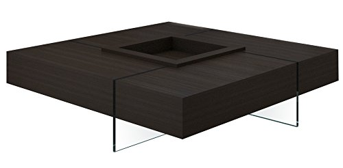 Creative Images International Modern Collection Square Espresso Coffee Table with 15mm Glass Base, Wenge Wood - Neo Classic Cocktail Table