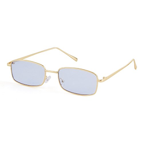 for Lens Men Frame Women Gold Sunglasses Retro Square Fashion ADEWU Glasses Blue XAnBW7HWU