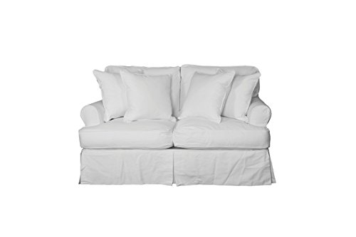 Fabric Slipcovered Loveseat - Sunset Trading Horizon Slipcovered Loveseat in Warm White