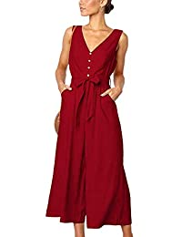 INIBUD Summer Button Down Jumpsuits for Women V Neck Jumpsuit Rompers with Pockets