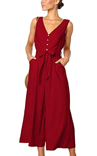 CLOUSPO Jumpsuits for Women Sleeveless Deep V Neck Button Palazzo Wide Leg Wrap Jumpsuit Rompers with Pockets (Red, M) (Jumpsuit Wrap)