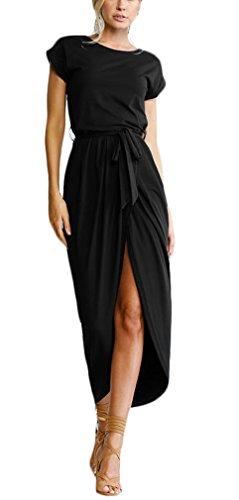 Irregolare Orlare Giorno Con Nero Lunghi Ragazza Colore Da Abiti Collo Abito Vestito Dress Spacco Eleganti Donna Estivi Vestitini Cintura Puro Beach Vestiti Moda Casual Rotondo Maxi P4xO51Y