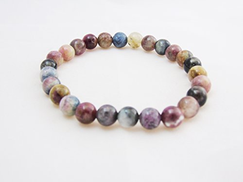 Multi Tourmaline 7.5mm Beads Bracelet Stretch Crystal Reiki Meditation Healing