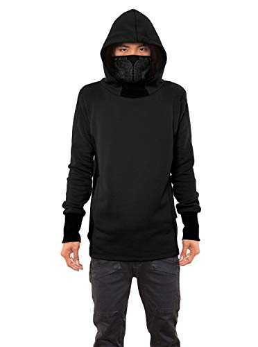Men's Nobunga Hoodie Japanese Ninja Cowl Neck Black Printed Pullover Outwear XL