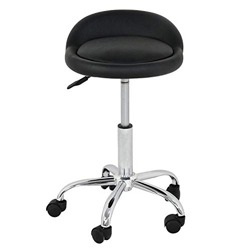 F2C Black Hydraulic Massage and Salon Stool Rolling Swivel Tattoo Facial Massage Spa Salon Home Office Chair Bar Stool with Backrest Height Adjustable (Pack of 1)