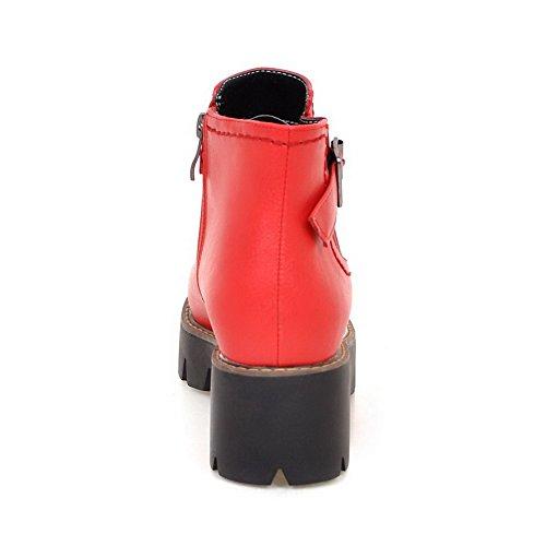 AllhqFashion Mujeres Material Suave Cremallera Puntera Redonda Botas con Hebilla Rojo