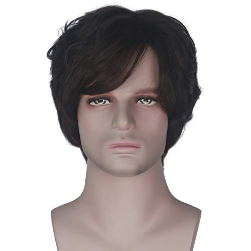 Yan Dream Men Prince Short Brown Wavy Wig Adult Halloween Costume Wig Daily Wear]()