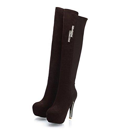 ... VogueZone009 Damen Rein Blend-Materialien Hoher Absatz Reißverschluss  Rund Zehe Stiefel Kaffee ...