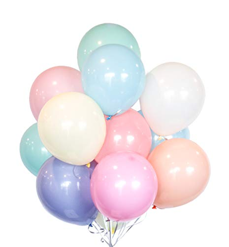 HomyBasic Assorted Pastel Balloons Set 100. 10 inch Rainbow Candy Color Latex Party Balloon with 50M Ribbon for Birthday Parties, Unicorn Supplies, Baby Shower Decorations, Wedding, Garland, Arch Kit -