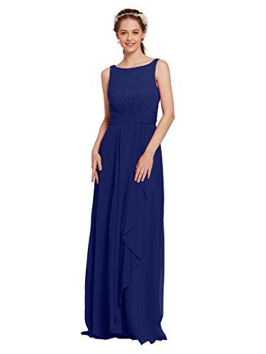(AW Bridal Chiffon Bridesmaid Dress Long Formal Prom Party Evening Maxi Dresses Sleeveless, Royal Blue, US6 )