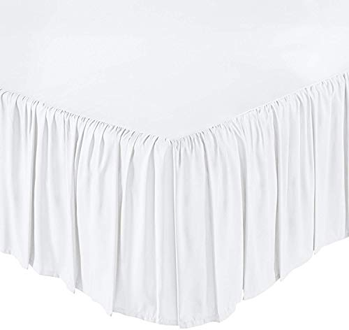 KP Linen Ruffled Bed Skirt with Split Corners Queen Size (14 Inch Drop) Platform Dust Ruffle with 400 Thread Count Microfiber Wrinkle Free(White Solid)