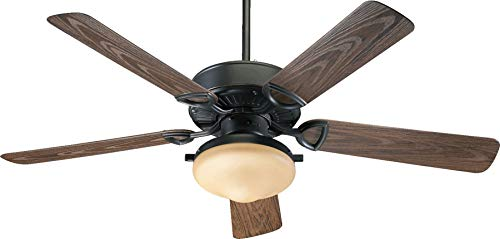 (Quorum International 1435259395 Estate 2-Light Patio Ceiling Fan with Amber Scavo Glass Light Kit and Walnut ABS Blades, 52-Inch, Old World Finish)