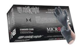 Microflex MK-296-M Medium Black 9.645'' MidKnight 4.7 mil Nitrile Ambidextrous Non-Sterile Medical Grade Powder-Free Disposable Gloves With Fully Textured Finish And Standard Examination Beaded Cuff (100 Each Per Box) (1/BX) by BarrierSafe Solutions Inter.