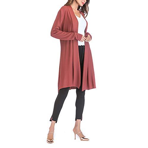 sobredimensionado M la Color Invierno tamaño del de Ahueca Red punto ZFFde rebeca Outwear abierto hacia fuera el de mujeres de abrigo las delante suéter gURFwz