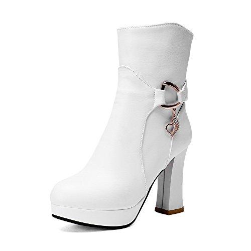 AllhqFashion Damen Rund Zehe Knöchel Hohe Hoher Absatz Rein PU Leder Stiefel, Weiß, 41