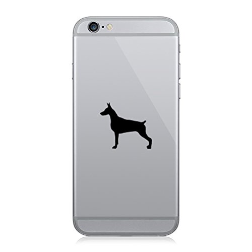 RDW Pair of Doberman Pinscher Cell Phone Stickers Mobile Dog Canine pet - Matte Black
