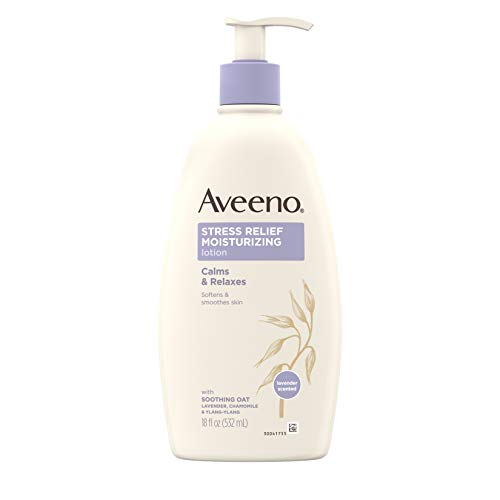 Aveeno Stress Relief Moisturizing Body Lotion with Lavender, Natural Oatmeal and Chamomile & Ylang-Ylang Essential Oils to Calm & Relax, 18 fl. oz