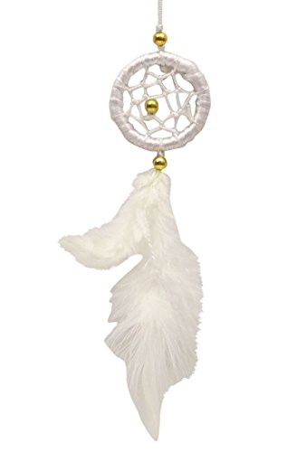 SuSvapnaah Mini Dream Catcher For Car Small White Hanging Ornament Round 1.5 Inch