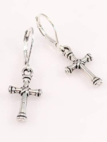 Modern Cross Pewter Earrings ()