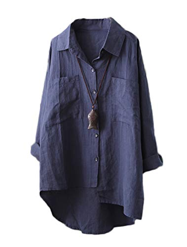 - Mordenmiss Women's Linen Shirt Blouse Casual Button-Down Hi-Low Tunic Tops (XL, Style 2-Navy)