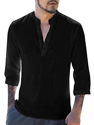 Beotyshow Mens Collarless Pullover Shirts, Mens Formal