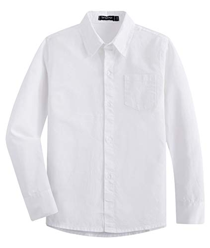 Spring&Gege Boys' Long Sleeve Solid Formal Cotton Twill Dress Shirts Milky White 11-12 Years ()