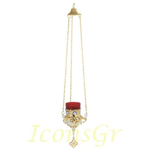 Gold Plated Orthodox Greek Christian Bronze Hanging Votive Vigil Oil Lamp with Chain and Red Glass - 9503gs by Iconsgr