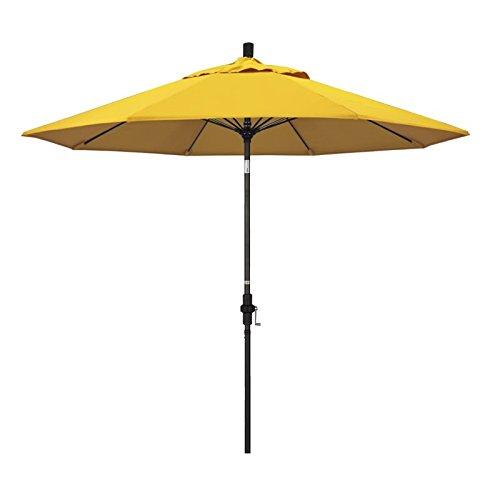 California Umbrella 9' Round Aluminum Pole Fiberglass Rib Market Umbrella, Crank Lift, Collar Tilt, Black Pole, Sunbrella Sunflower (Sunbrella Sunflower)