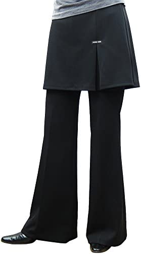 厚地 スカート付きストレッチパンツ-【M】【127-4】美脚ブーツカット スカート丈お尻隠す40cm