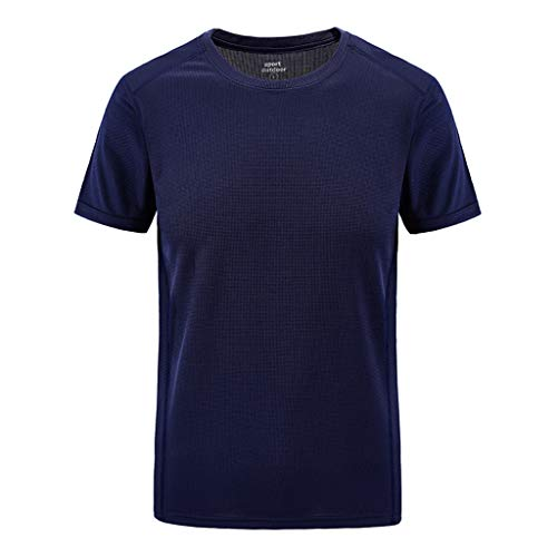 Mens Summer Casual Outdoor T-Shirt Plus Size Sport Fast-Dri Breathable Solid Tops Dark Blue - Masonic Golf T-shirt