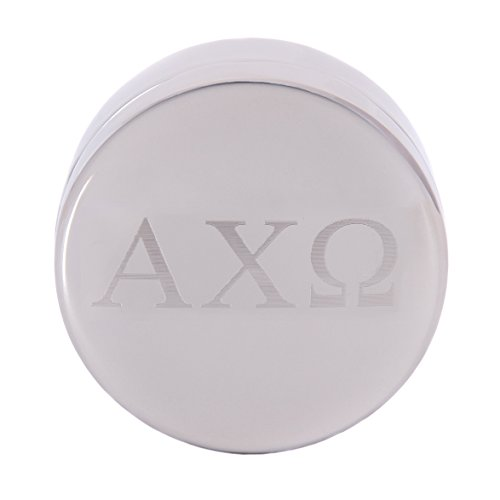 Alpha Chi Omega Round Engraved Pin Box Sorority Greek Decorative Case Great for Rings, Badges, Jewelry AXO (Round Metal Letter Pin Box) (Alpha Merchandise)