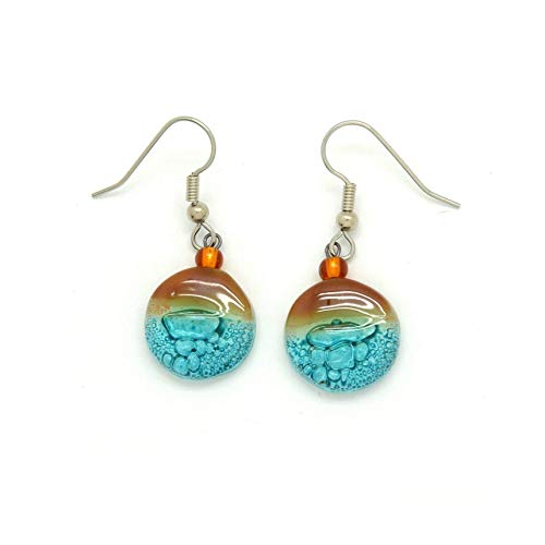 Small Round Fused Glass Earrings - Turquoise Amber