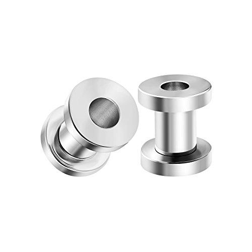 (BIG GAUGES Pair of Screw 316L Surgical Steel 4gauges 5 mm Piercing Jewelry Stretcher Ear Plug Earring Lobe Tunnel BG0112)