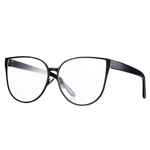 Pro Acme New Fashion Oversized Cat Eye Flat Lens Clear Glasses Frame for Women (Black)