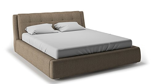 Urban Ladder Stanhope Hydraulic Upholstered Storage Bed  Bed Size : Queen, Colour : Oak Beige