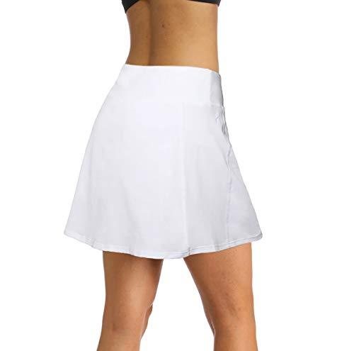 Ibeauti Womens Athletic Stretch Tennis Golf Skirts Skorts with Hidden Pockets Shorts Underneath Quick Dry (White, Medium)