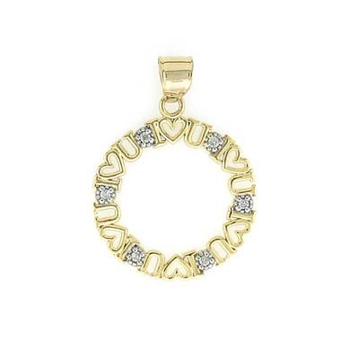 Or bicolore 14carats Diamant brut I Love U Cercle Pendentif