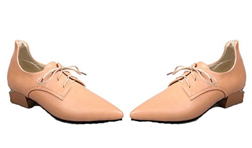 VogueZone009 Women's PU Pointed-Toe Low-Heels Lace-up Solid Pumps-Shoes Apricot XIIVBHo